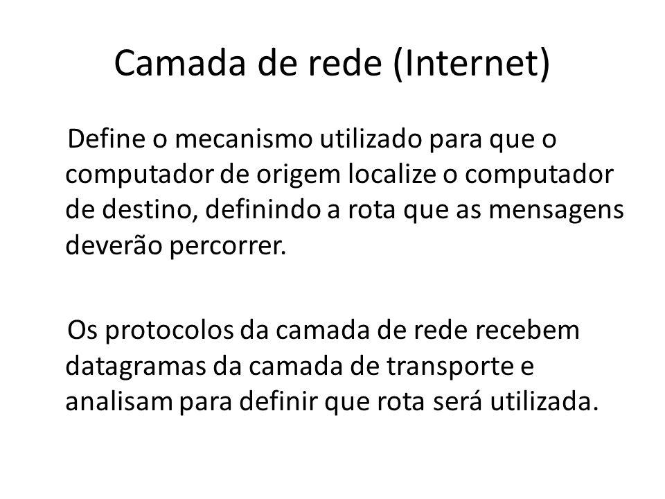 Camada de rede (Internet) Define o mecanismo utilizado para que o computador de origem localize o computador de destino, definindo a rota que as mensa