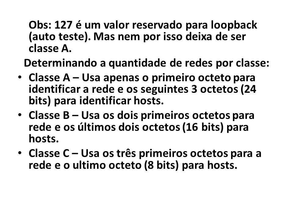 Obs: 127 é um valor reservado para loopback (auto teste). Mas nem por isso deixa de ser classe A. Determinando a quantidade de redes por classe: Class