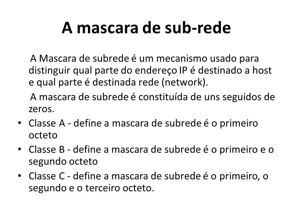 A mascara de sub-rede A Mascara de subrede é um mecanismo usado para distinguir qual parte do endereço IP é destinado a host e qual parte é destinada
