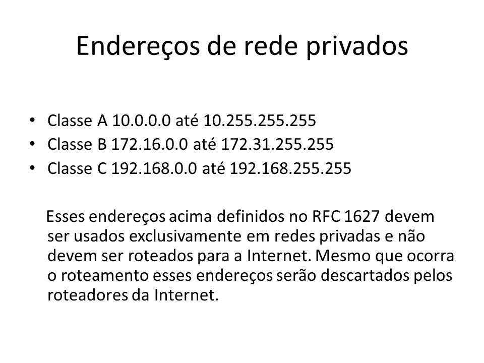 Endereços de rede privados Classe A 10.0.0.0 até 10.255.255.255 Classe B 172.16.0.0 até 172.31.255.255 Classe C 192.168.0.0 até 192.168.255.255 Esses