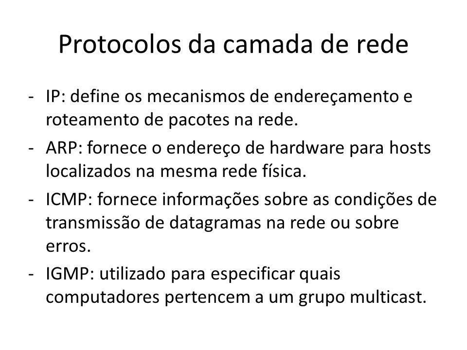 Protocolos da camada de rede -IP: define os mecanismos de endereçamento e roteamento de pacotes na rede. -ARP: fornece o endereço de hardware para hos