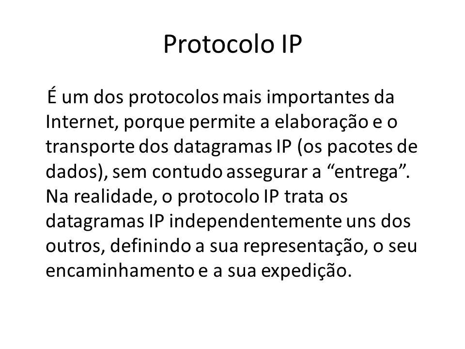 Protocolo IP É um dos protocolos mais importantes da Internet, porque permite a elaboração e o transporte dos datagramas IP (os pacotes de dados), sem
