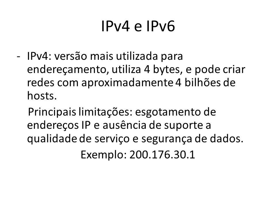 IPv4 e IPv6 -IPv4: versão mais utilizada para endereçamento, utiliza 4 bytes, e pode criar redes com aproximadamente 4 bilhões de hosts. Principais li