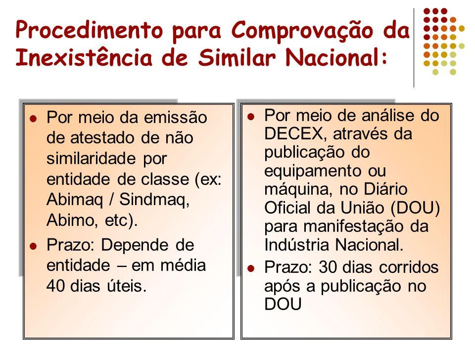Procedimento para Comprovação da Inexistência de Similar Nacional: Por meio da emissão de atestado de não similaridade por entidade de classe (ex: Abimaq / Sindmaq, Abimo, etc).