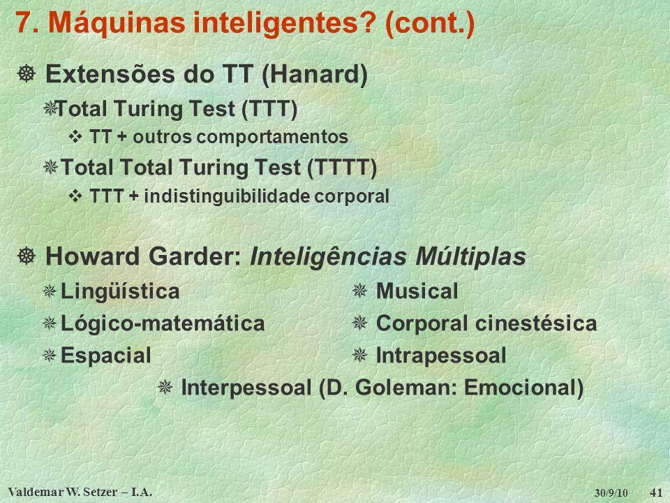 Valdemar W. Setzer – I.A. 41 30/9/10 7. Máquinas inteligentes? (cont.) Extensões do TT (Hanard) Total Turing Test (TTT) TT + outros comportamentos Tot