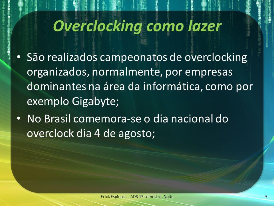 Overclocking como lazer São realizados campeonatos de overclocking organizados, normalmente, por empresas dominantes na área da informática, como por