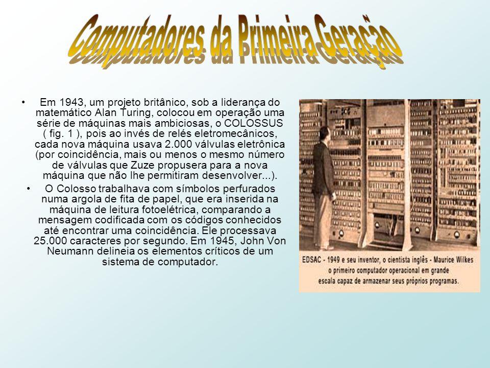 Em 1943, um projeto britânico, sob a liderança do matemático Alan Turing, colocou em operação uma série de máquinas mais ambiciosas, o COLOSSUS ( fig.