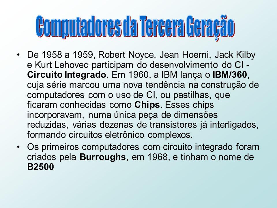 De 1958 a 1959, Robert Noyce, Jean Hoerni, Jack Kilby e Kurt Lehovec participam do desenvolvimento do CI - Circuito Integrado.
