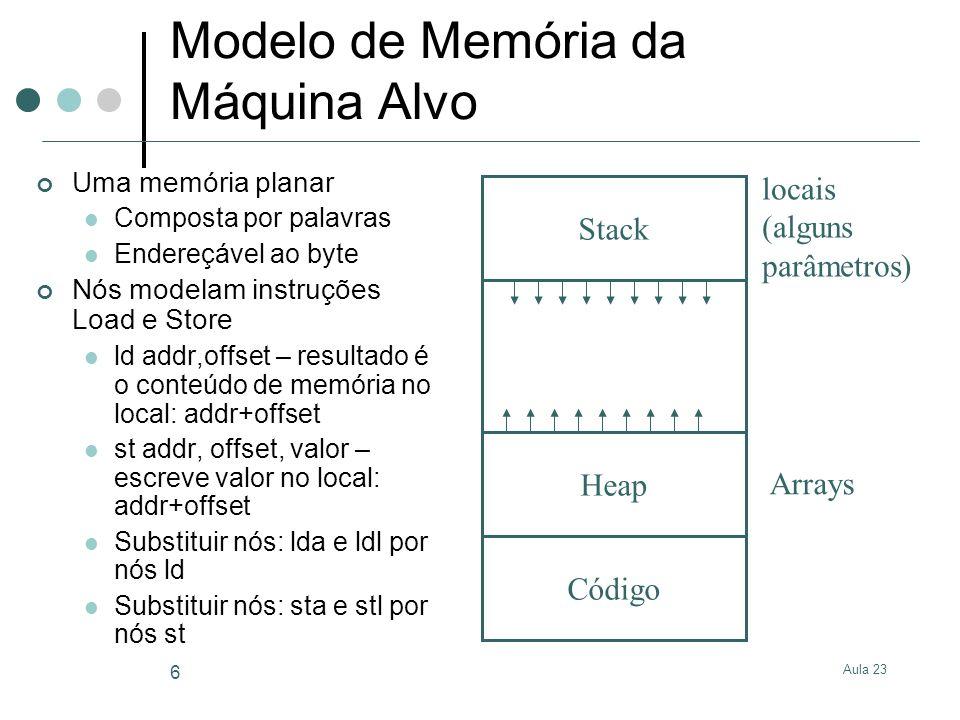 Aula 23 6 Modelo de Memória da Máquina Alvo Uma memória planar Composta por palavras Endereçável ao byte Nós modelam instruções Load e Store ld addr,o