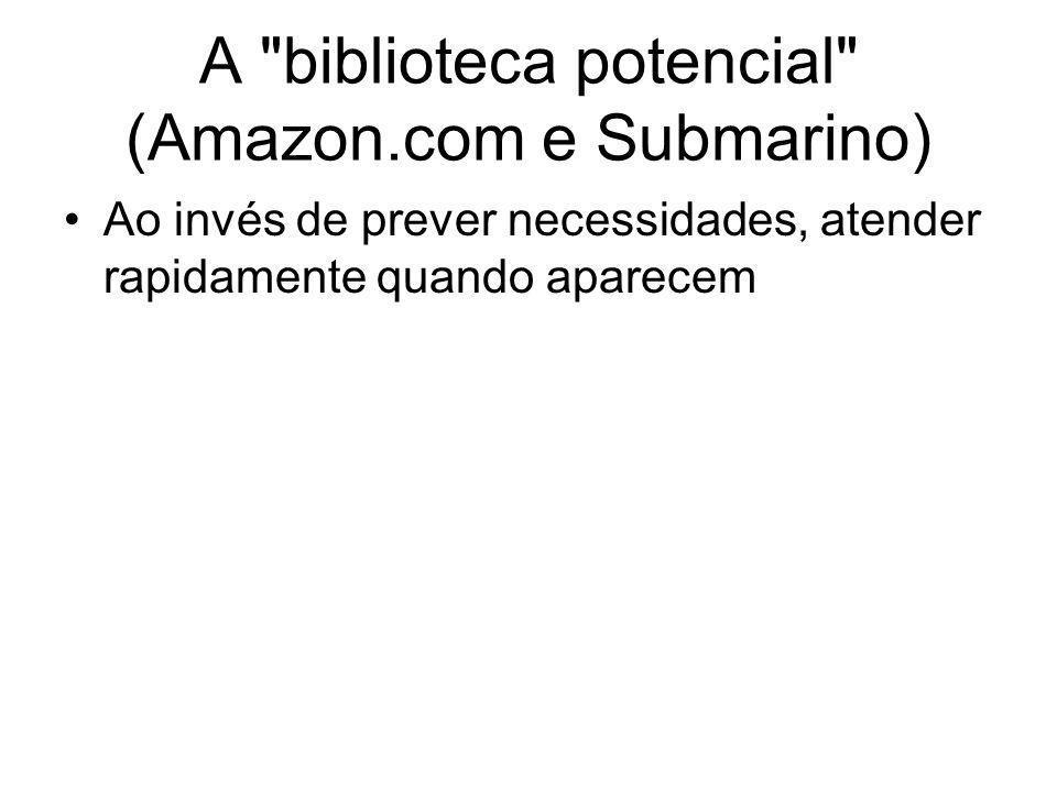 A biblioteca potencial (Amazon.com e Submarino) Ao invés de prever necessidades, atender rapidamente quando aparecem
