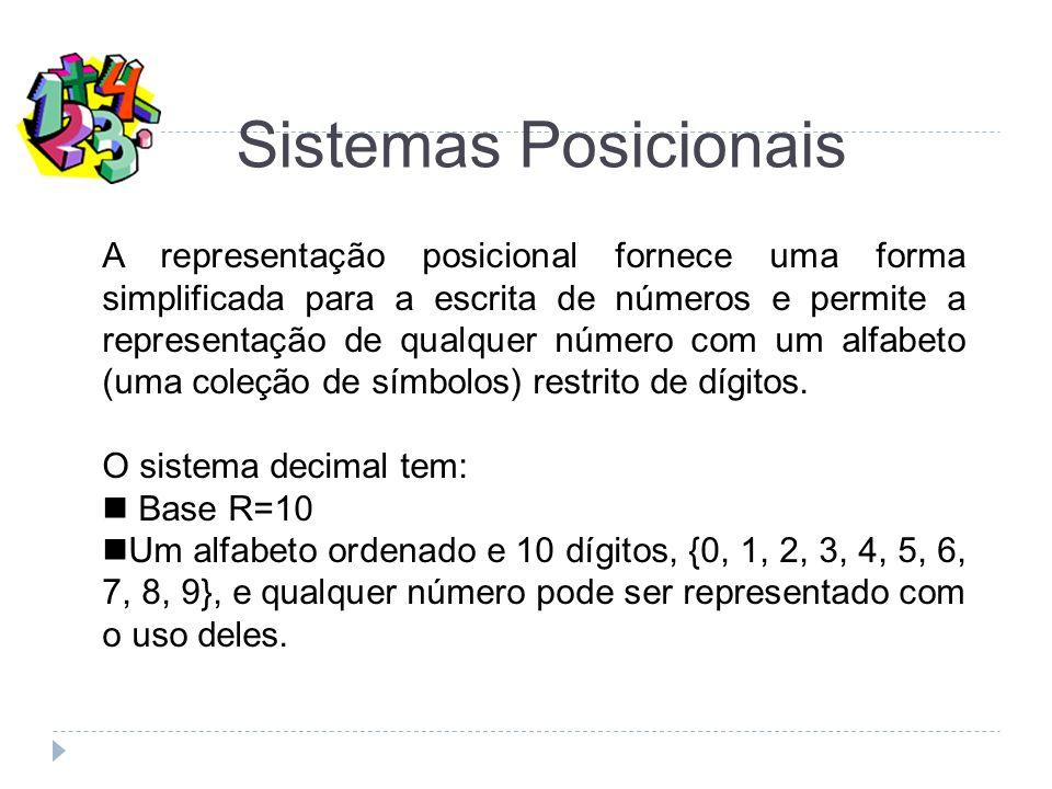 A representação posicional fornece uma forma simplificada para a escrita de números e permite a representação de qualquer número com um alfabeto (uma