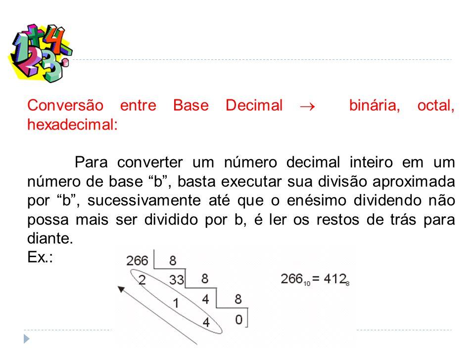 Conversão entre Base Decimal binária, octal, hexadecimal: Para converter um número decimal inteiro em um número de base b, basta executar sua divisão