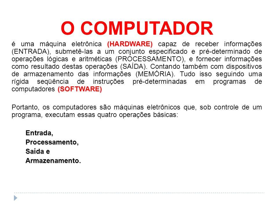O COMPUTADOR (HARDWARE) (SOFTWARE) é uma máquina eletrônica (HARDWARE) capaz de receber informações (ENTRADA), submetê-las a um conjunto especificado