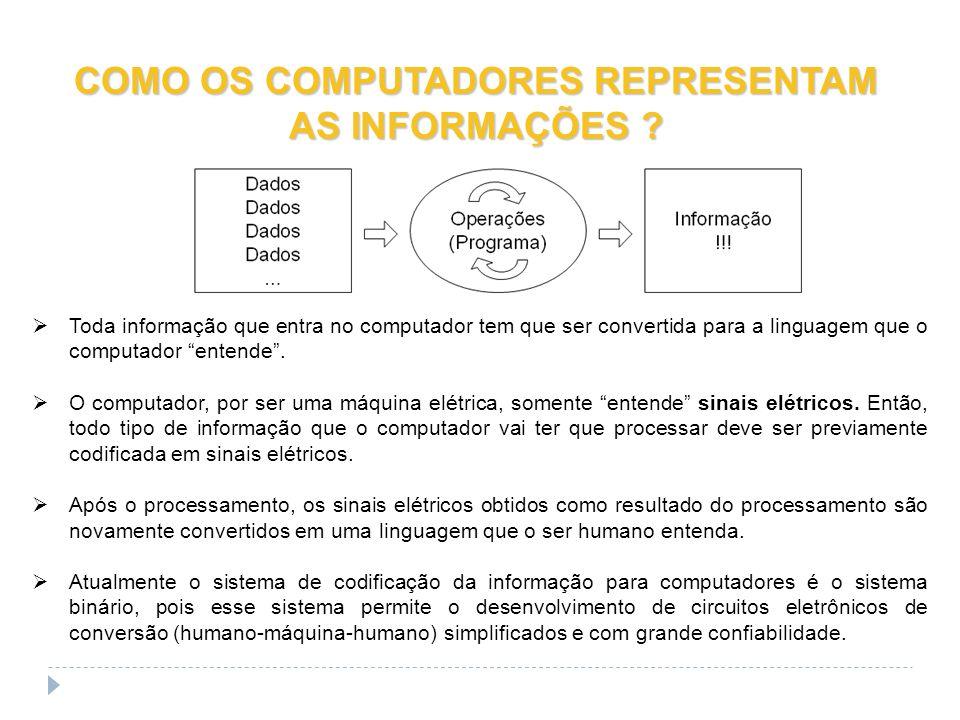Como os computadores modernos representam as informações.