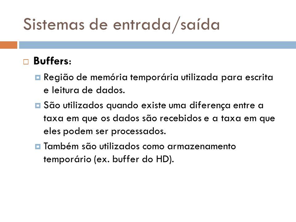 Sistemas de entrada/saída Buffers: Região de memória temporária utilizada para escrita e leitura de dados. São utilizados quando existe uma diferença