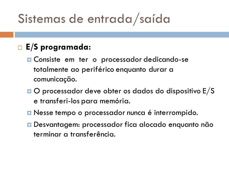 Sistemas de entrada/saída E/S programada: Consiste em ter o processador dedicando-se totalmente ao periférico enquanto durar a comunicação. O processa