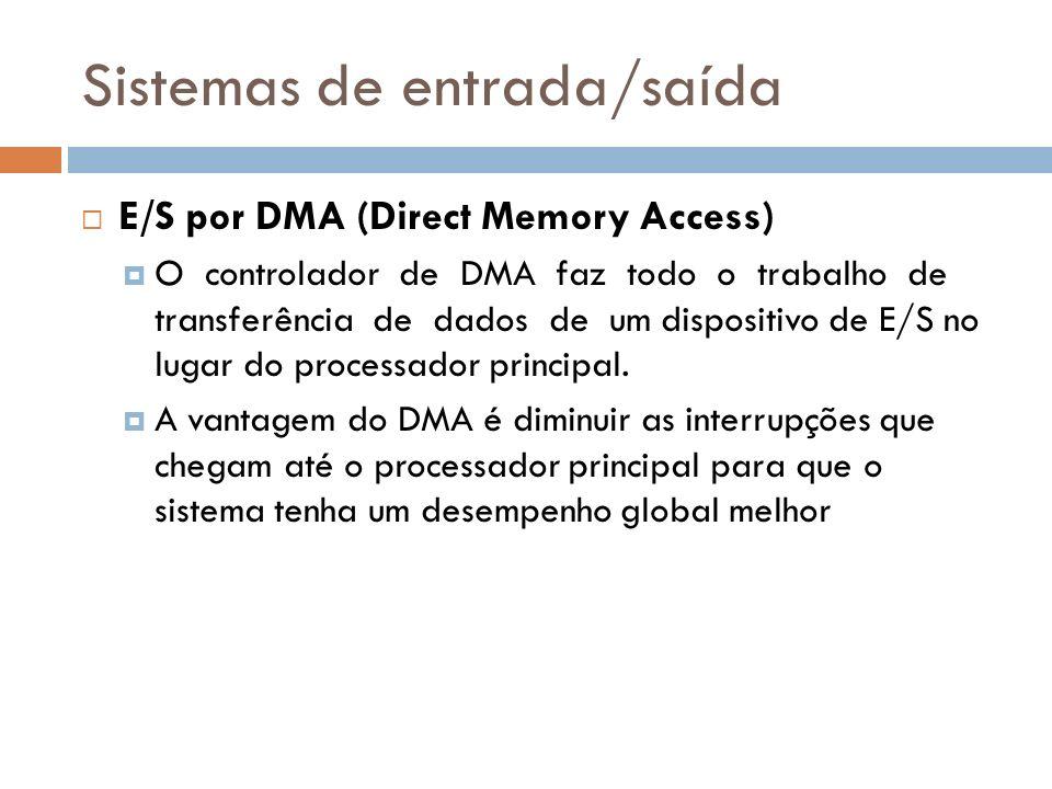 Sistemas de entrada/saída E/S por DMA (Direct Memory Access) O controlador de DMA faz todo o trabalho de transferência de dados de um dispositivo de E