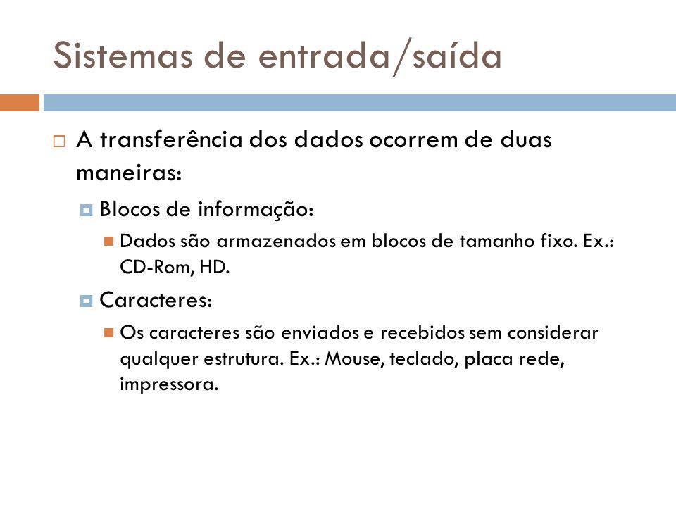 A transferência dos dados ocorrem de duas maneiras: Blocos de informação: Dados são armazenados em blocos de tamanho fixo. Ex.: CD-Rom, HD. Caracteres