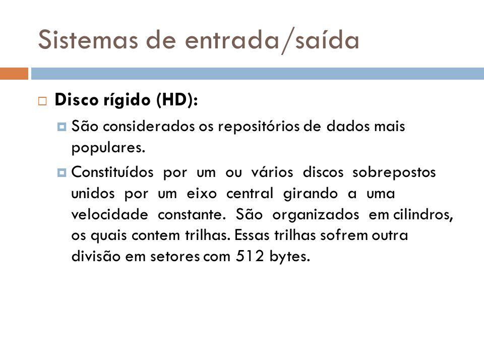 Sistemas de entrada/saída Disco rígido (HD): São considerados os repositórios de dados mais populares. Constituídos por um ou vários discos sobreposto