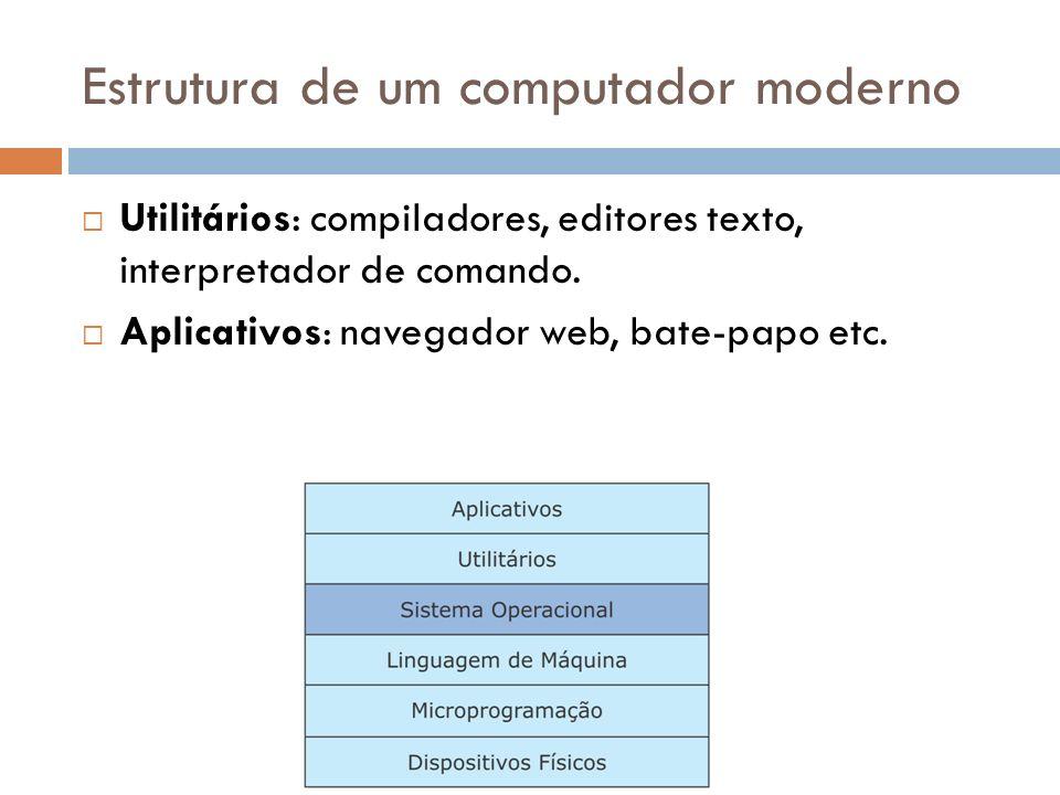 Estrutura de um computador moderno Utilitários: compiladores, editores texto, interpretador de comando. Aplicativos: navegador web, bate-papo etc.