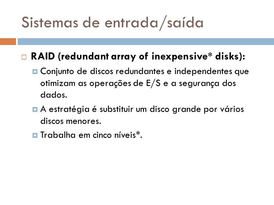 Sistemas de entrada/saída RAID (redundant array of inexpensive* disks): Conjunto de discos redundantes e independentes que otimizam as operações de E/