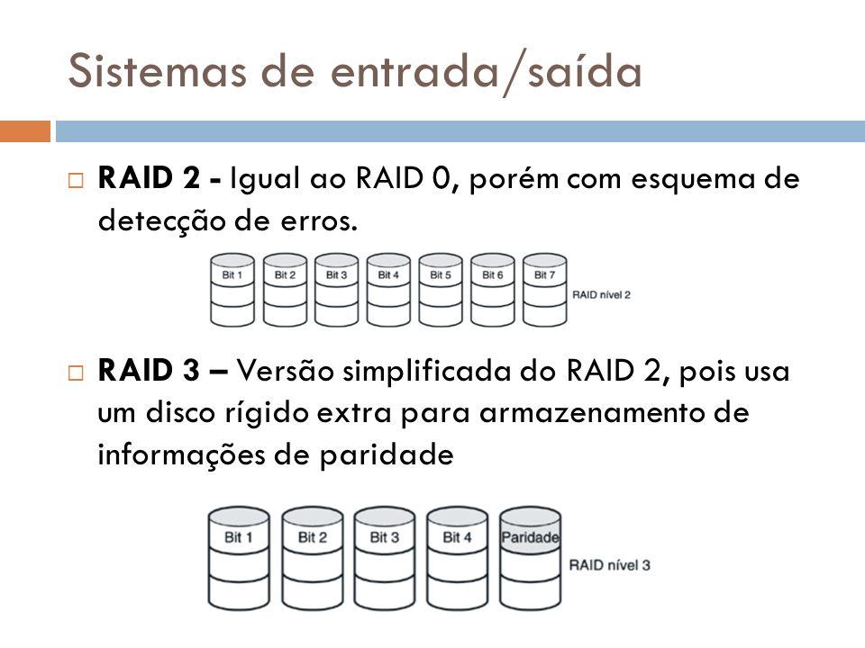 Sistemas de entrada/saída RAID 2 - Igual ao RAID 0, porém com esquema de detecção de erros. RAID 3 – Versão simplificada do RAID 2, pois usa um disco