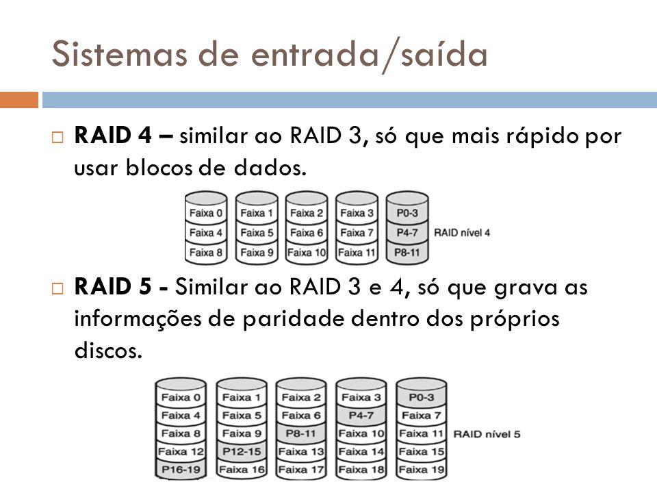 Sistemas de entrada/saída RAID 4 – similar ao RAID 3, só que mais rápido por usar blocos de dados. RAID 5 - Similar ao RAID 3 e 4, só que grava as inf