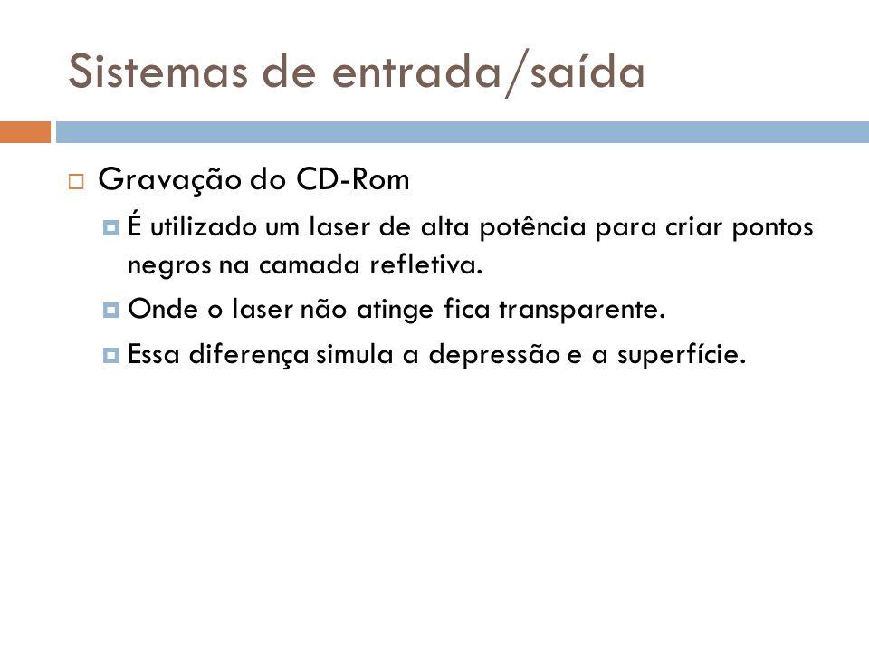 Gravação do CD-Rom É utilizado um laser de alta potência para criar pontos negros na camada refletiva. Onde o laser não atinge fica transparente. Essa