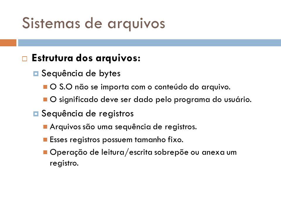 Sistemas de arquivos Estrutura dos arquivos: Sequência de bytes O S.O não se importa com o conteúdo do arquivo. O significado deve ser dado pelo progr