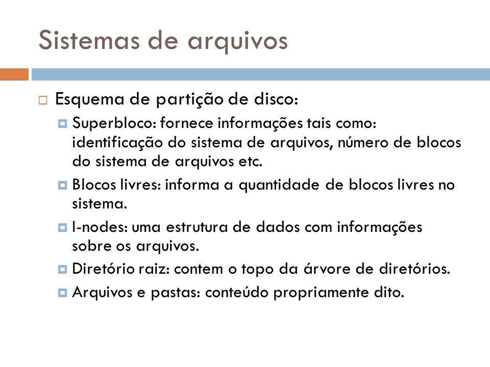 Sistemas de arquivos Esquema de partição de disco: Superbloco: fornece informações tais como: identificação do sistema de arquivos, número de blocos d