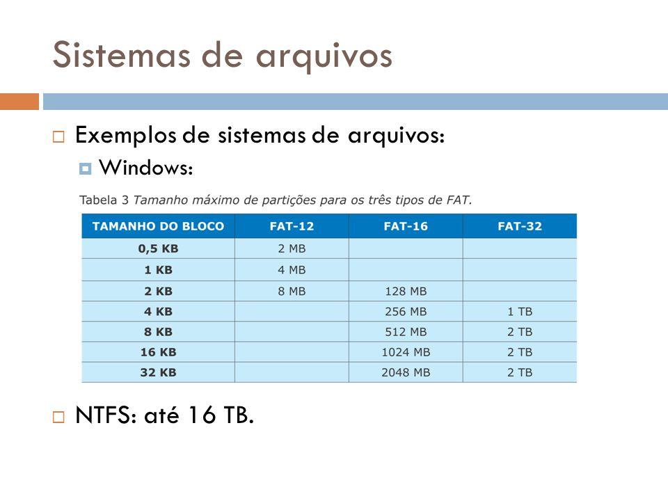 Sistemas de arquivos Exemplos de sistemas de arquivos: Windows: NTFS: até 16 TB.