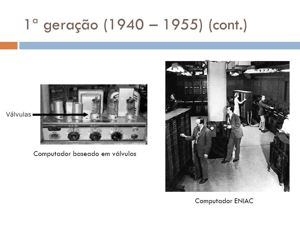 1ª geração (1940 – 1955) (cont.) Computador baseado em válvulas Computador ENIAC