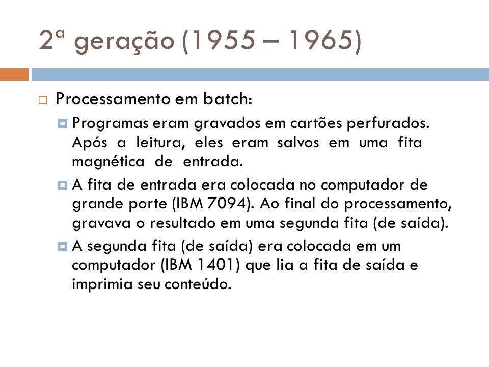2ª geração (1955 – 1965) Processamento em batch: Programas eram gravados em cartões perfurados. Após a leitura, eles eram salvos em uma fita magnética