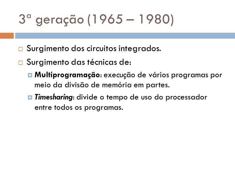 3ª geração (1965 – 1980) Surgimento dos circuitos integrados. Surgimento das técnicas de: Multiprogramação: execução de vários programas por meio da d