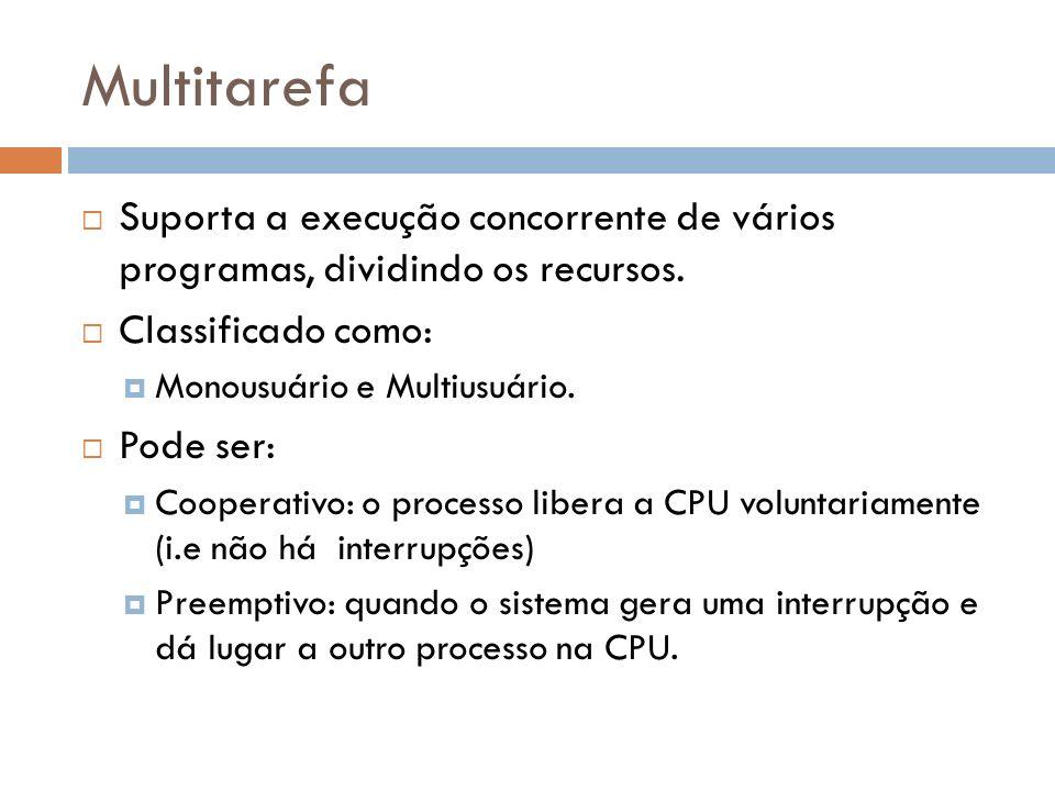 Multitarefa Suporta a execução concorrente de vários programas, dividindo os recursos. Classificado como: Monousuário e Multiusuário. Pode ser: Cooper