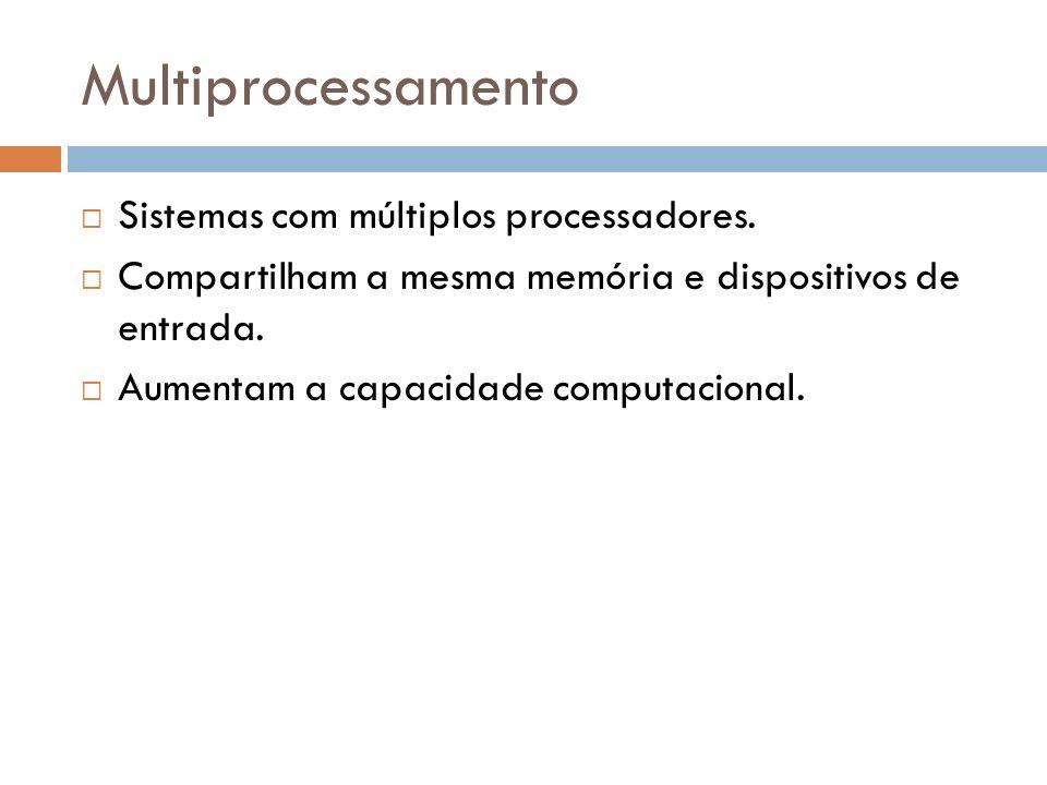 Multiprocessamento Sistemas com múltiplos processadores. Compartilham a mesma memória e dispositivos de entrada. Aumentam a capacidade computacional.