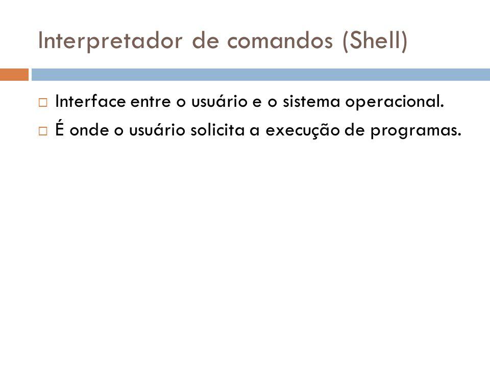 Interpretador de comandos (Shell) Interface entre o usuário e o sistema operacional. É onde o usuário solicita a execução de programas.
