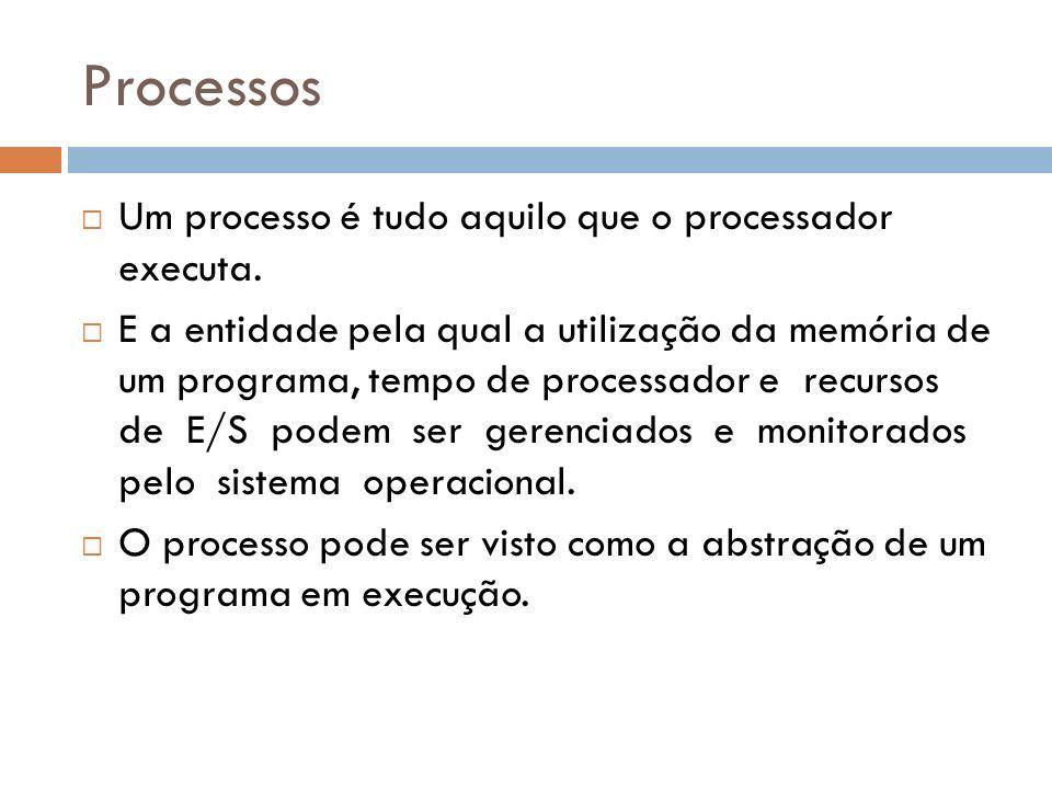 Processos Um processo é tudo aquilo que o processador executa. E a entidade pela qual a utilização da memória de um programa, tempo de processador e r