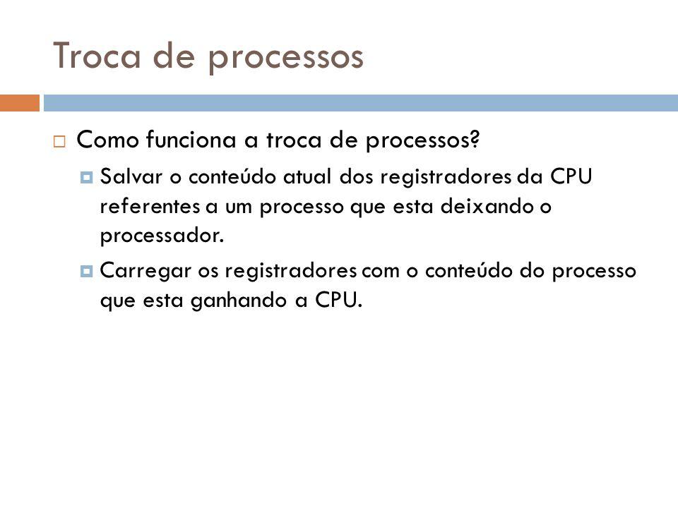Troca de processos Como funciona a troca de processos? Salvar o conteúdo atual dos registradores da CPU referentes a um processo que esta deixando o p