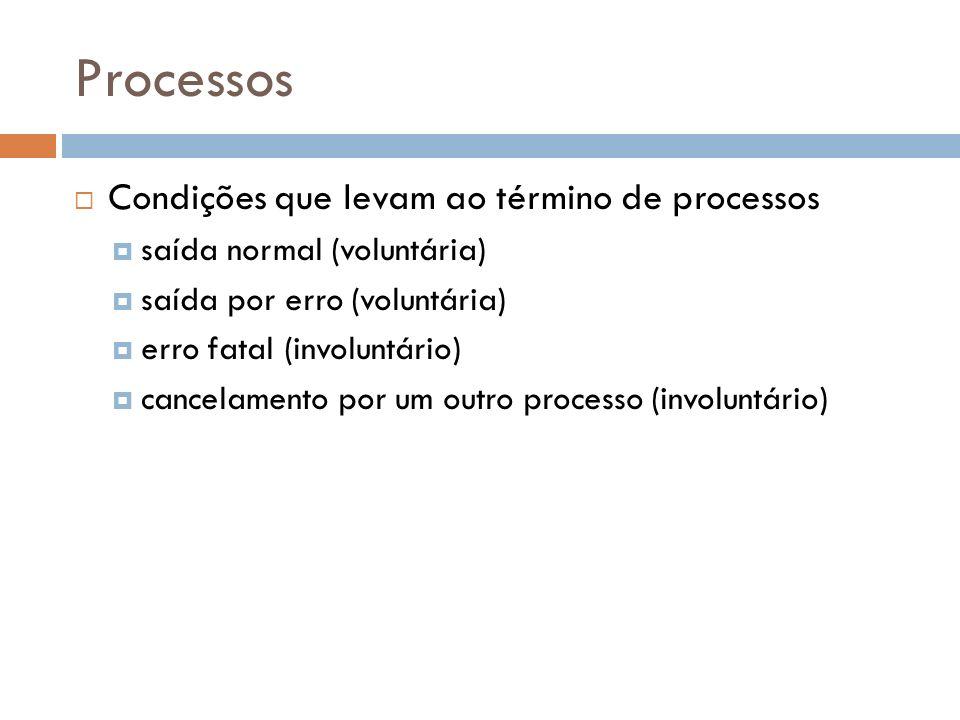 Processos Condições que levam ao término de processos saída normal (voluntária) saída por erro (voluntária) erro fatal (involuntário) cancelamento por
