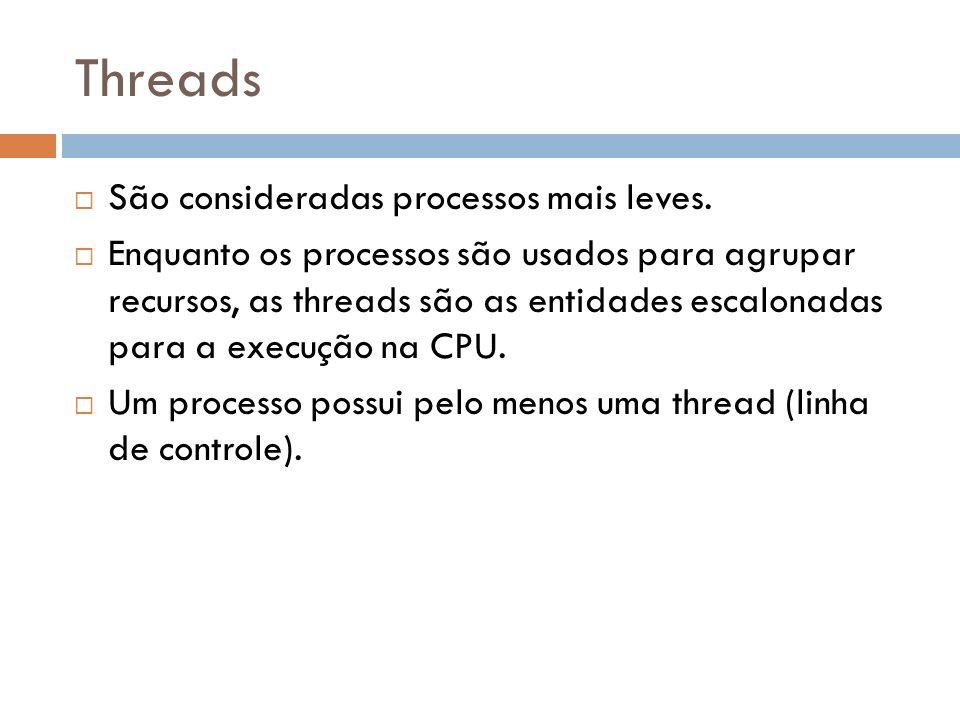 Threads São consideradas processos mais leves. Enquanto os processos são usados para agrupar recursos, as threads são as entidades escalonadas para a