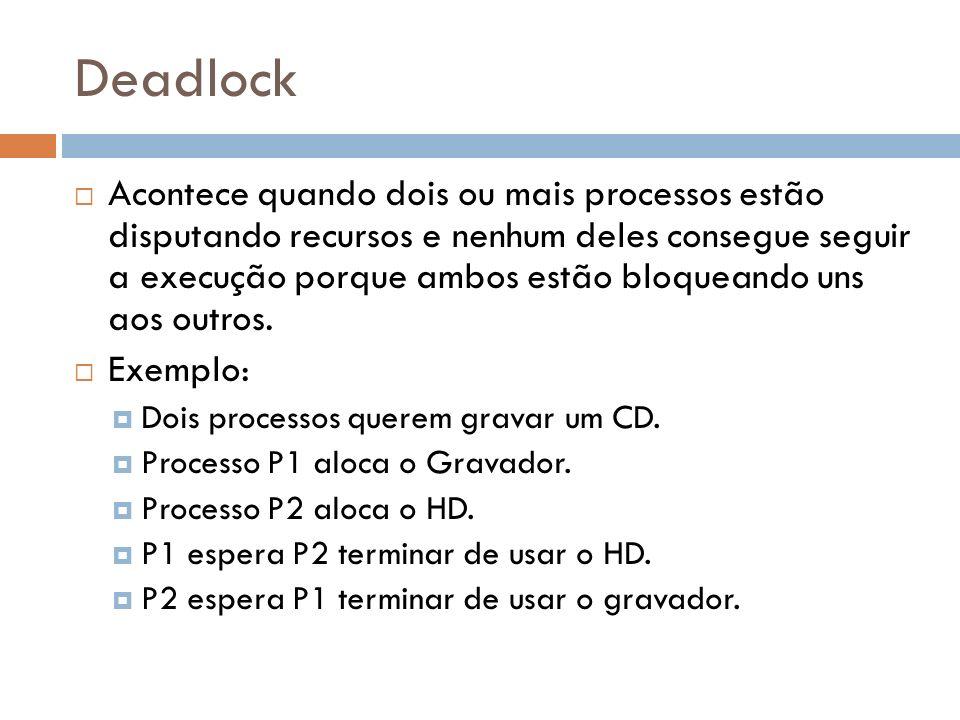 Deadlock Acontece quando dois ou mais processos estão disputando recursos e nenhum deles consegue seguir a execução porque ambos estão bloqueando uns
