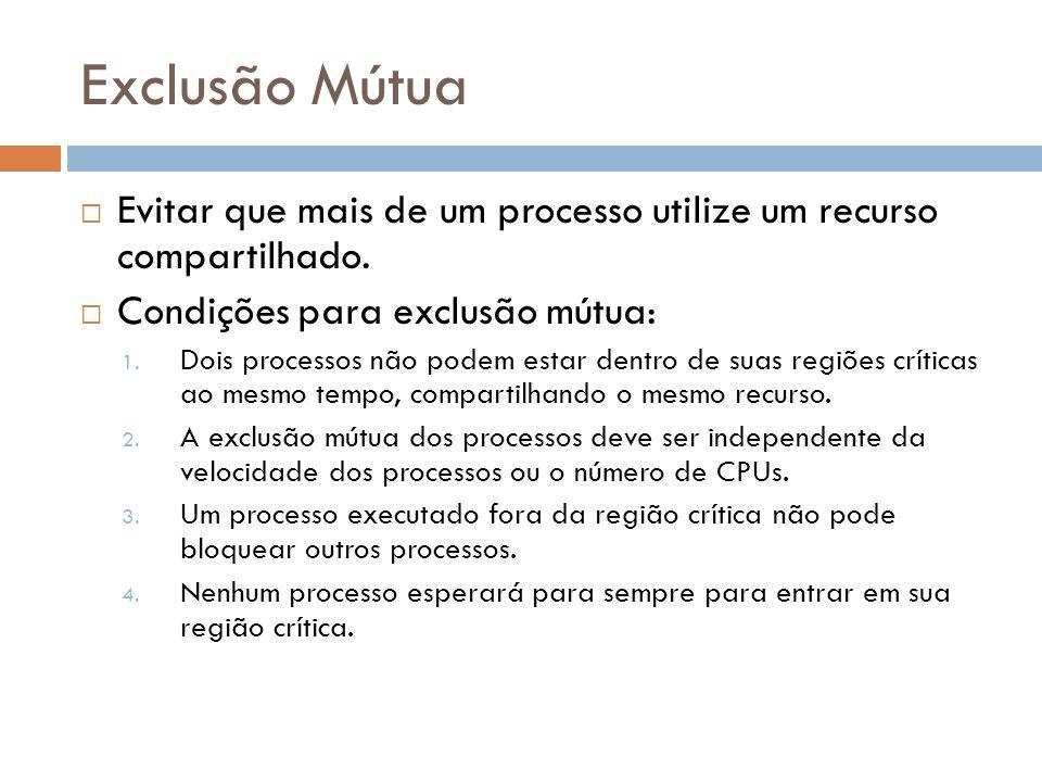 Exclusão Mútua Evitar que mais de um processo utilize um recurso compartilhado. Condições para exclusão mútua: 1. Dois processos não podem estar dentr