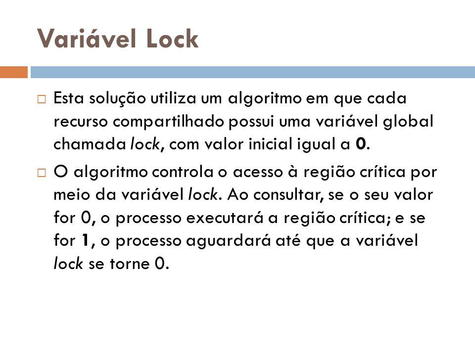 Variável Lock Esta solução utiliza um algoritmo em que cada recurso compartilhado possui uma variável global chamada lock, com valor inicial igual a 0