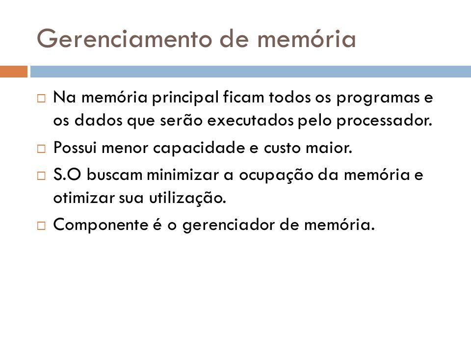 Na memória principal ficam todos os programas e os dados que serão executados pelo processador. Possui menor capacidade e custo maior. S.O buscam mini