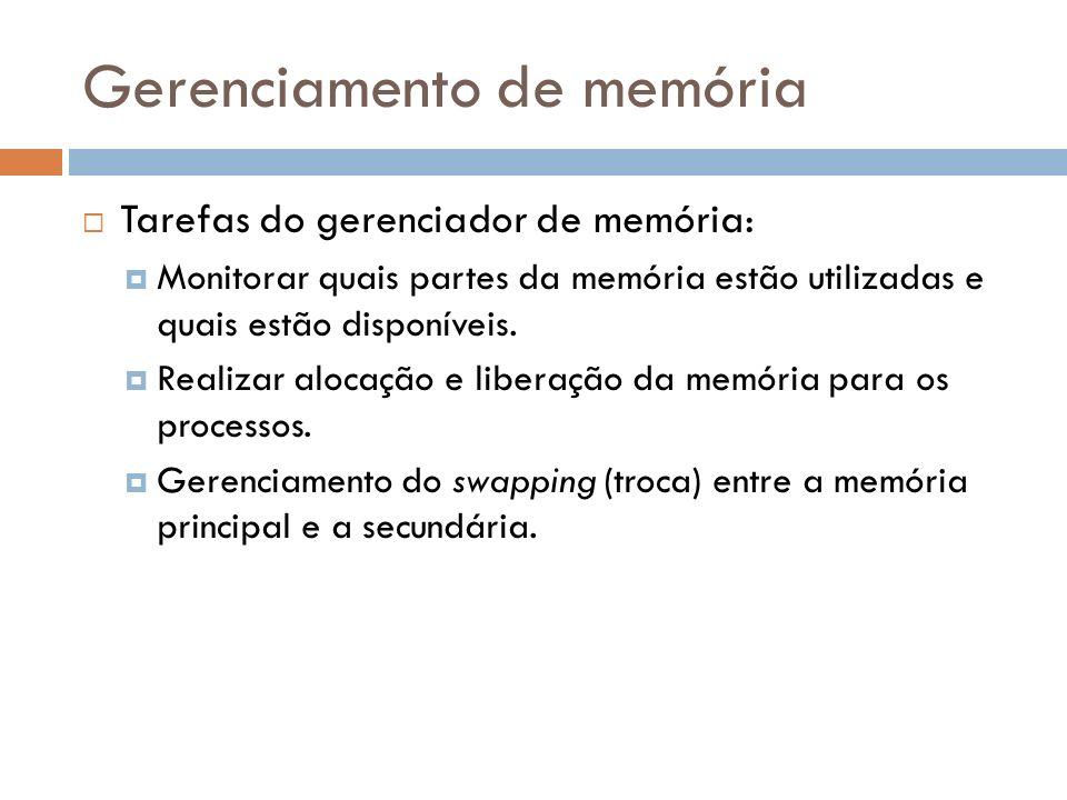 Gerenciamento de memória Tarefas do gerenciador de memória: Monitorar quais partes da memória estão utilizadas e quais estão disponíveis. Realizar alo