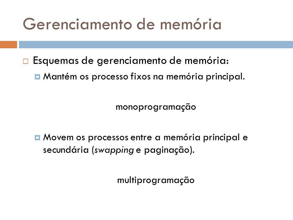 Gerenciamento de memória Esquemas de gerenciamento de memória: Mantém os processo fixos na memória principal. monoprogramação Movem os processos entre