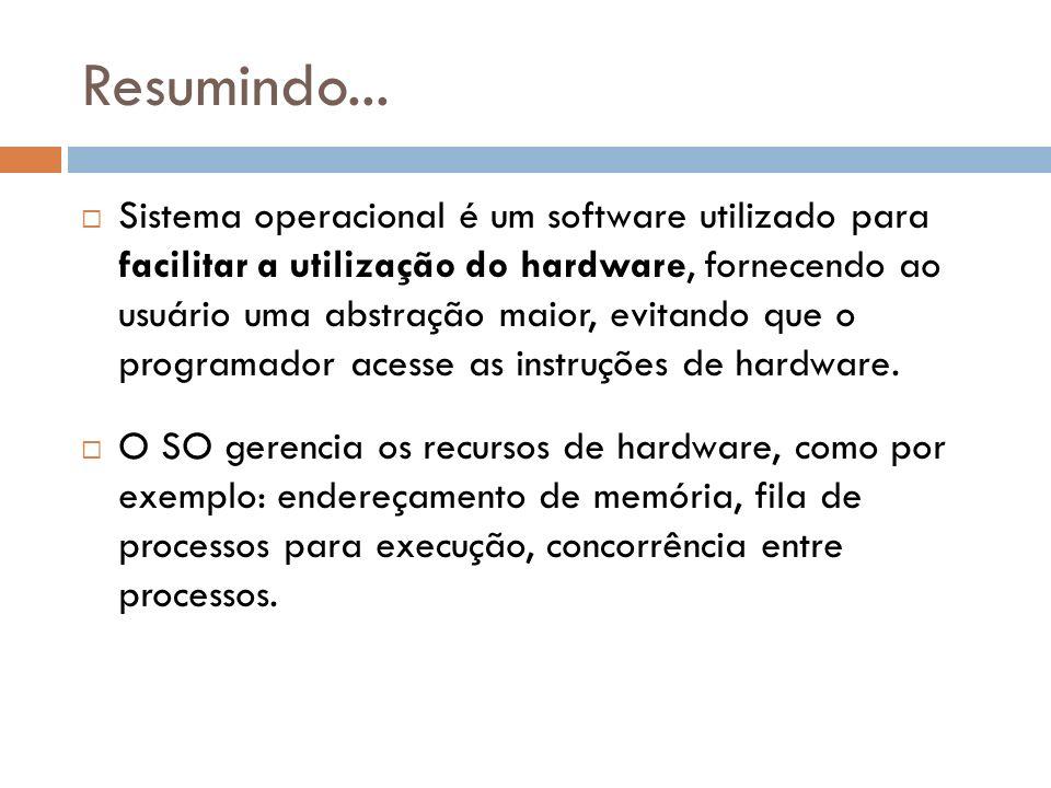Resumindo... Sistema operacional é um software utilizado para facilitar a utilização do hardware, fornecendo ao usuário uma abstração maior, evitando