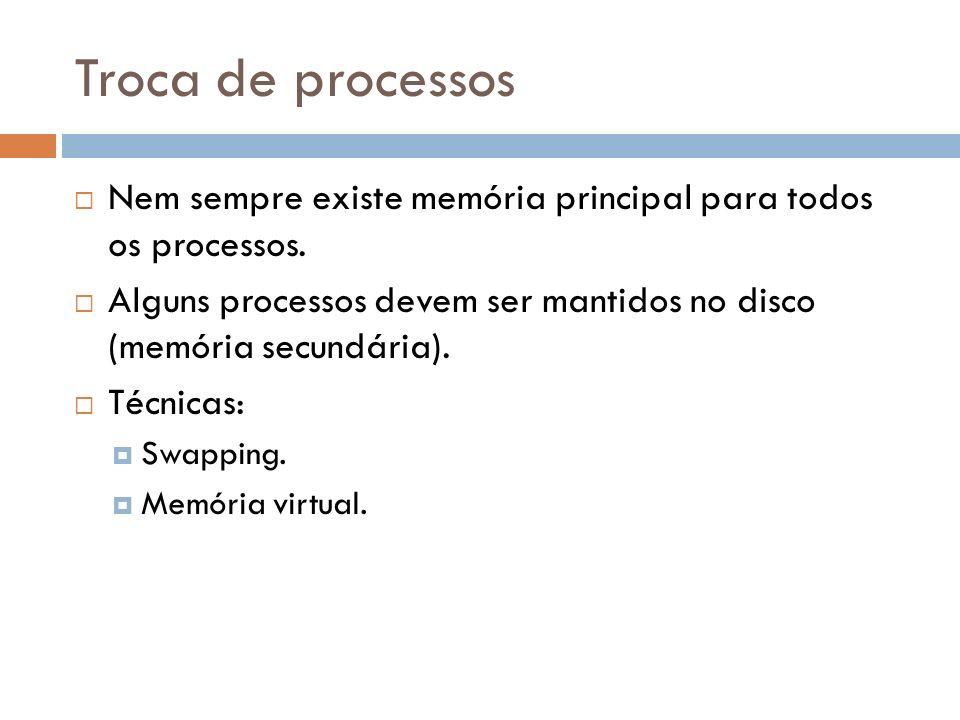 Troca de processos Nem sempre existe memória principal para todos os processos. Alguns processos devem ser mantidos no disco (memória secundária). Téc