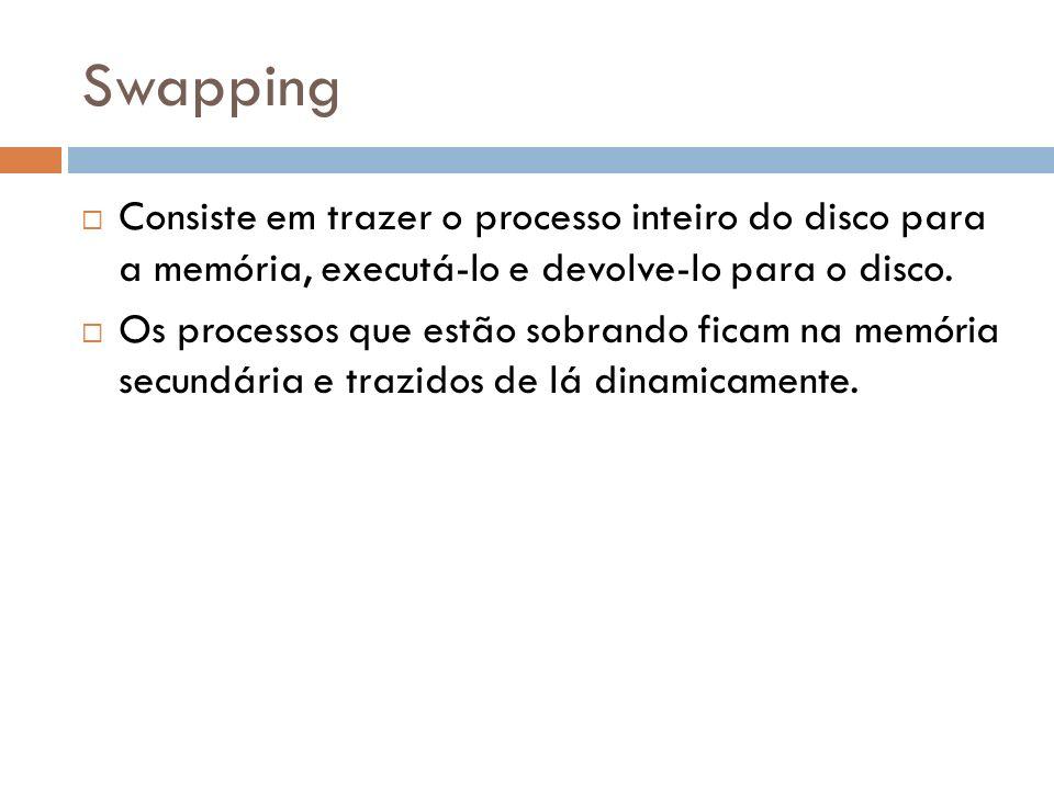 Swapping Consiste em trazer o processo inteiro do disco para a memória, executá-lo e devolve-lo para o disco. Os processos que estão sobrando ficam na